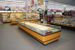 Shelving with food. Of a large shopping center in Italy (Rome Stock Photo