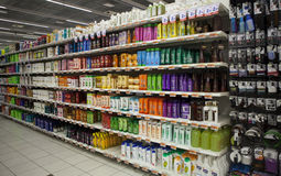 Shelving with hair products and beauty. Store. Royalty Free Stock Image
