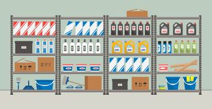 Shelving with household goods. Warehouse racks. Storeroom vector illustration