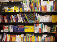 Shelving with language books Royalty Free Stock Photography