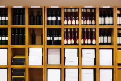 Shelvings with wine bottles Royalty Free Stock Photo