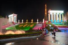Shen Zhen Windows av världen i Kina på natten Arkivbild