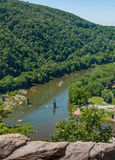Shenandoah-Fluss nahe Harpers-Fähre, West-Virginia Aerial View From Maryland-Höhen Stockbild