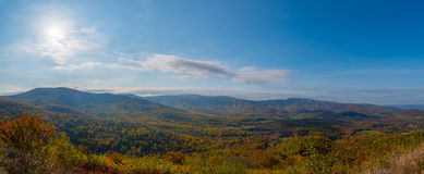 Shenandoah National Park Panorama. A view from skyline drive in Shenandoah during autumn Stock Image