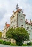 The Shenborn castle and english garden. Around it, Karpaty, Ukraine Stock Images