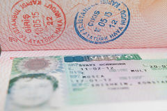 Shengen visa on Russian passport, travel id royalty free stock images