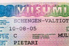 Shengen visa stamp Stock Photo