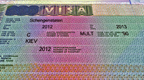Shengen visa for travel, european document Stock Images