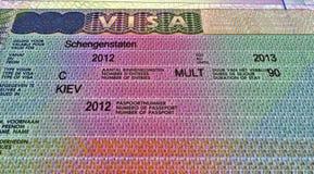 Shengen visa for travel, european document Stock Images