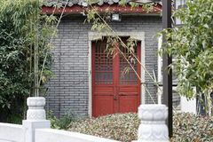 Chinese woodcarving door-A corner of the park. Shengjin tower brick Pavilion style tower Jiangnan typical, 50.86 meters high tower, the tower for the seven layer Stock Photo