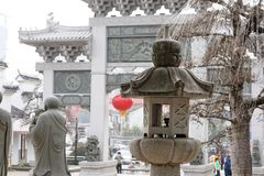 Stone carving street lamp-A corner of the park. Shengjin tower brick Pavilion style tower Jiangnan typical, 50.86 meters high tower, the tower for the seven Royalty Free Stock Images