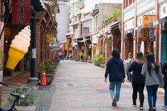Shenkeng gammal gata - Tofuhuvudstaden i Taipei, Taiwan Arkivfoto