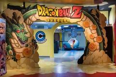 Shenlong, saiyan spaceship and Dragon Ball Z logo arch on J-World theme park in Toshima district. TOKYO, JAPAN - 23 FEB 2018: Shenlong, saiyan spaceship and stock photography
