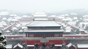 The Shenwu gate of the forbidden city in snow Royalty Free Stock Image