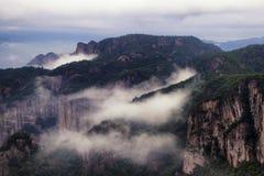 Shenxianju mountain with fog view royalty free stock photo