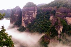 Shenxianju Mountain With Fog View Royalty Free Stock Photo