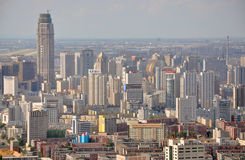 Shenyang CBD, China. Aerial view of Skyscrapers of Shenyang CBD, Liaoning Province, China. Shenyang is the largest city in Northeast China (Manchuria). Photo royalty free stock images