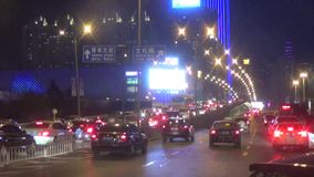 Shenyang city night scene stock video footage