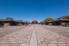 Shenyang Imperial Palace. Perspective view of the Shenyang Imperial Palace courtyard. Shenyang, Liaoning province, China stock images