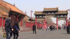 Shenyang imperial palace street. Shenyang imperial palace, located in the old city center in the Ming and qing dynasties, shenhe district in shenyang on July 1 stock footage