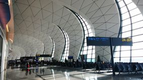 Shenyang taoxian international airport china. Inside shenyang taoxian international airport of china ,look simple and big stock images