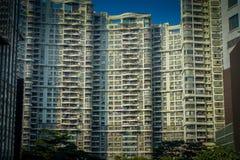 SHENZEN, CHINA - 29 DE ENERO DE 2017: Calles del centro urbano y sorroundings de la vecindad de Nan Shan, apartamento grande típi Fotos de archivo