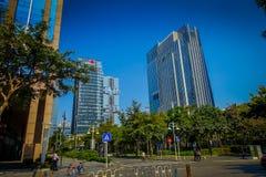 SHENZEN, CHINA - 29 DE ENERO DE 2017: Las calles y los sorroundings del centro urbano, mezcla hermosa de árboles verdes combinaro Imagen de archivo libre de regalías