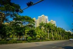 SHENZEN, CHINA - 29 DE JANEIRO DE 2017: As ruas e os sorroundings do centro urbano, mistura bonita de árvores verdes combinaram c Fotos de Stock