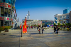 SHENZEN, CHINA - 29 DE JANEIRO DE 2017: Ruas do centro urbano e sorroundings da vizinhança de Nan Shan, mistura espetacular de Fotografia de Stock Royalty Free
