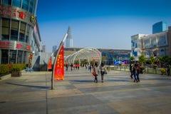 SHENZEN, CHINA - 29. JANUAR 2017: Innenstadtstraßen und sorroundings von Nan Shan-Nachbarschaft, großartige Mischung von Lizenzfreie Stockfotografie