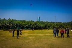 SHENZEN, CHINA - 29. JANUAR 2017: Innerer Lian Hua Shan-Park, großes Erholungsgebiet, Leute, die auf dem Grasspielen laufen Stockfotos