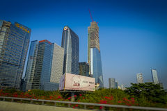 SHENZEN, CHINA - 29. JANUAR 2017: Nan Shan-Nachbarschaft, Innenstadtstraßen und sorroundings, schöne Mischung des Grüns Stockfotos