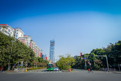 SHENZEN, CHINA - 29 JANUARY, 2017: Nan Shan neighborhood, inner city streets and sorroundings, beautiful mix of green Stock Photography