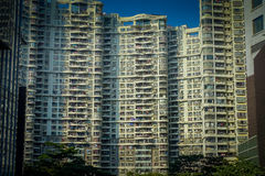 SHENZEN, CINA - 29 GENNAIO 2017: Vie del centro urbano e sorroundings della vicinanza di Nan Shan, grande appartamento tipico Fotografie Stock