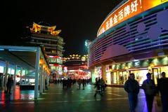 Dongmen fot- gata i Shenzhen, Kina Arkivfoto
