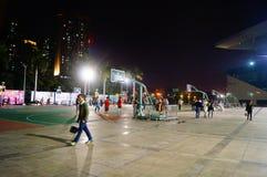 Shenzhen, Κίνα: γήπεδο μπάσκετ τοπίων νύχτας Στοκ εικόνα με δικαίωμα ελεύθερης χρήσης