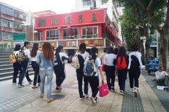 Shenzhen, Κίνα: επαγγελματικοί και τεχνικοί σχολικοί σπουδαστές μετά από το σχολείο Στοκ εικόνες με δικαίωμα ελεύθερης χρήσης