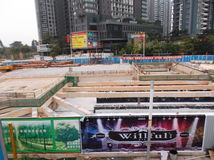 Shenzhen, Κίνα: εργοτάξιο οικοδομής υπογείων Στοκ φωτογραφίες με δικαίωμα ελεύθερης χρήσης