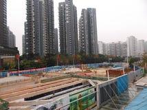 Shenzhen, Κίνα: εργοτάξιο οικοδομής υπογείων Στοκ Εικόνες