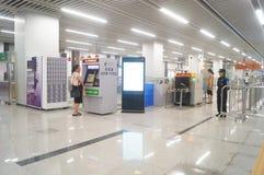 Shenzhen, Κίνα: Η γραμμή 11 μετρό άνοιξε τις διαδικασίες Στοκ Φωτογραφία