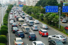 Shenzhen, Κίνα: κυκλοφοριακή συμφόρηση στοκ εικόνες