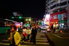 Shenzhen, Κίνα: τοπίο νύχτας οδών Στοκ Φωτογραφία