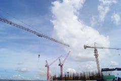 Shenzhen, Κίνα: το εργοτάξιο οικοδομής του γερανού πύργων Στοκ Εικόνες