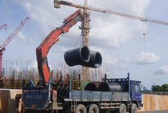 Shenzhen, Κίνα: το εργοτάξιο οικοδομής του γερανού πύργων Στοκ φωτογραφίες με δικαίωμα ελεύθερης χρήσης