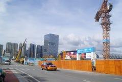 Shenzhen, Κίνα: το εργοτάξιο οικοδομής του γερανού πύργων Στοκ Φωτογραφία