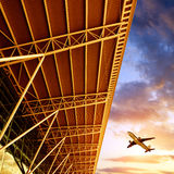 Shenzhen airport terminal and aircraft Stock Images
