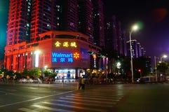 Shenzhen Baoan Avenue, in der Nachtlandschaft Stockfotografie