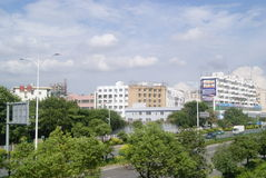 Shenzhen Baoan Avenue and many-storied buildings landscape, in China Stock Photo