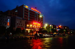 Shenzhen Baoan Avenue, in the night landscape Stock Photos