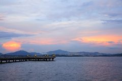 Shenzhen bay, China. Sunset of Shenzhen Bay royalty free stock photography